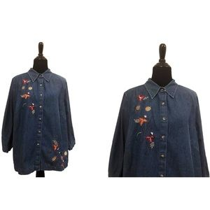Liz&Me | Vintage Blue Jean Autumn Leaf Blouse